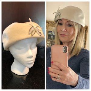 Vintage halo beret cream hat sequined appliqué